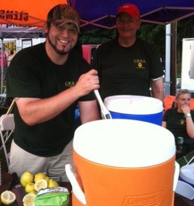 GWBA Member Mike Simpson mixes up another batch of fresh lemonade.