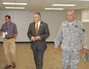Williamston Councilmember Rockey Burgess (left) Mayor Mack Durham and Sgt. Tiimothy Green during a walk thru of the SC National Guard Armory in Williamston.