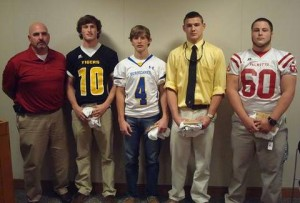 Week 8 honorees by the Anderson Area Touchdown Club included: Pictured (l-r) Doug Shaw, Jr., Palmetto High School; Defensive: Chandler Creswell, Crescent High School; Offensive: Bailey Rogers, Wren High School; Co-Linemen: Alex Haynes, Pendleton High School; Jack Wardlaw, Palmetto High School; Scott Smith AATC.