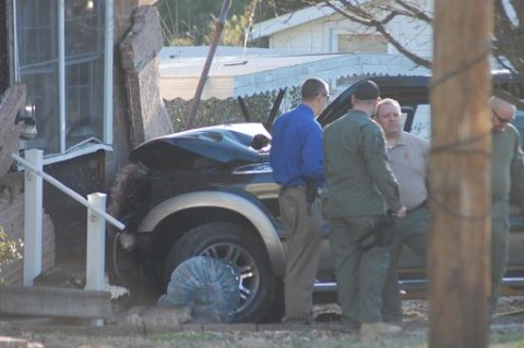 The stolen truck Williams was driving when the chase ended with the vehicle crashing into a house in Piedmont.