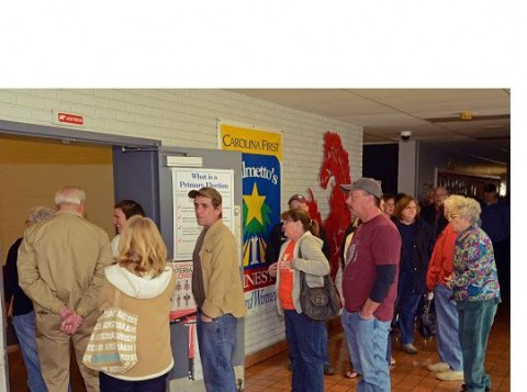 Long lines at the Williamston voting precinct at Palmetto Middle School